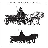 Horse-drawn Carriage. Horse Cart with Coachman and Two Horses.