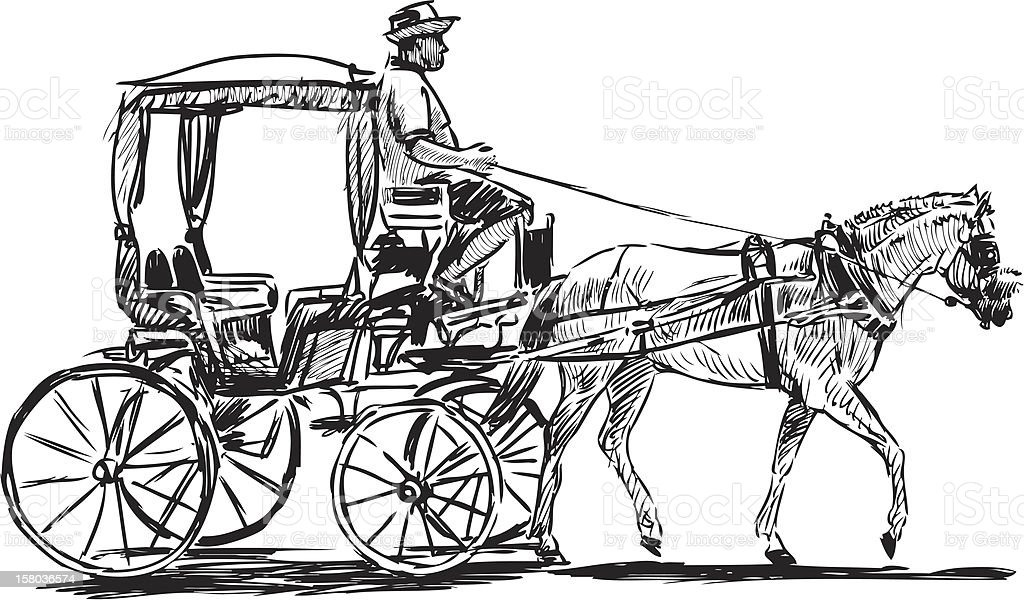 horse-drawn carriage royalty-free stock vector art