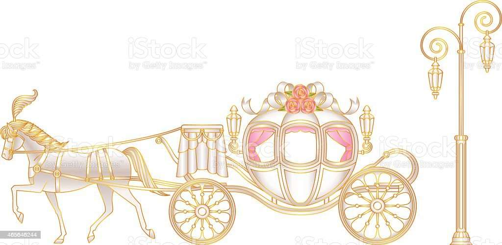 horse-drawn carriage vector art illustration