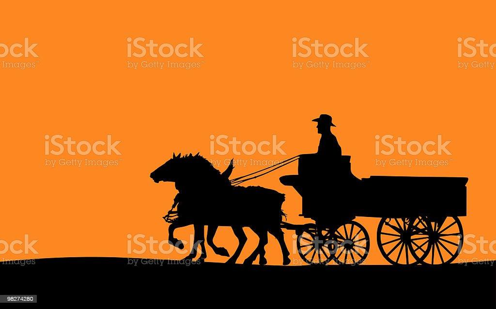Horse-drawn Wagon (Vector) vector art illustration