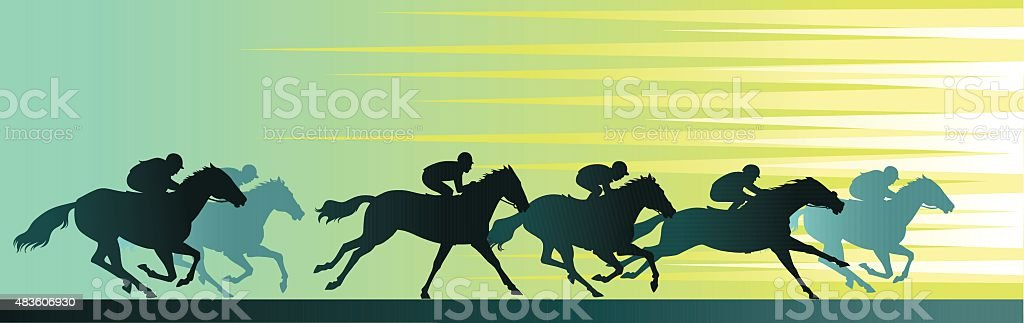 Horseracing Banner With Close Up Horse and Silhouettes vector art illustration
