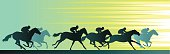 Horseracing Banner With Close Up Horse and Silhouettes