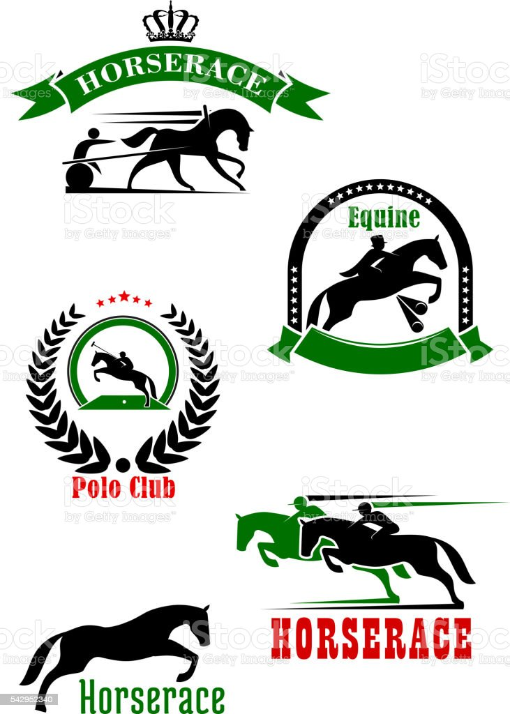 Horseracing, dressage and polo club heraldic icons vector art illustration