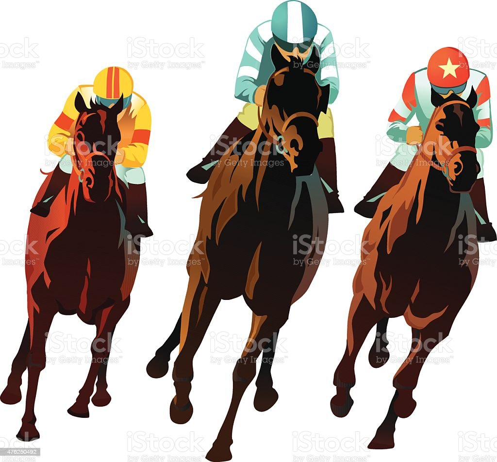 Horseracing Front View Of Horses Racing stock vector art ...