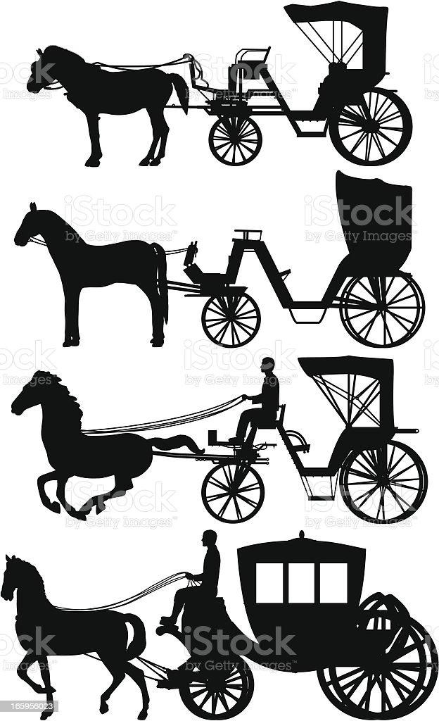 Horses and Carts vector art illustration