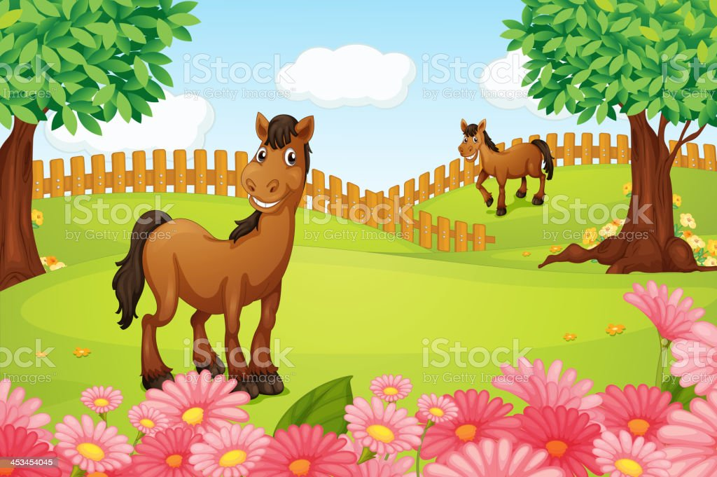 Horses on a field royalty-free stock vector art