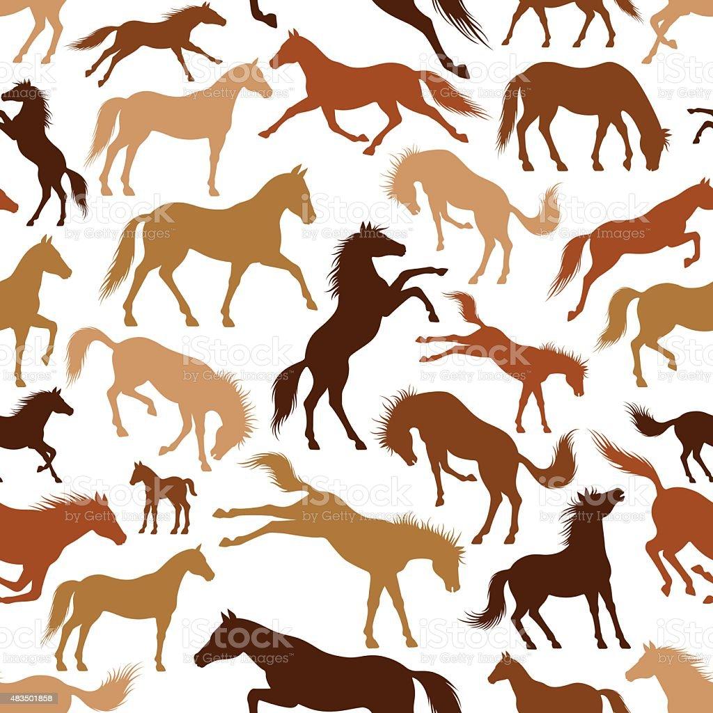 Horses Pattern vector art illustration