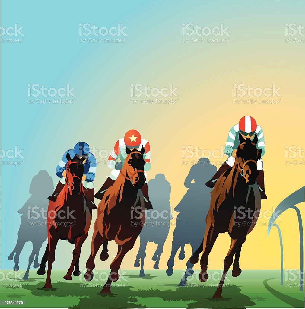 Horses Racing Around the Bend - Front View vector art illustration