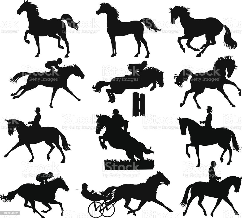 Horses Silhouettes vector art illustration