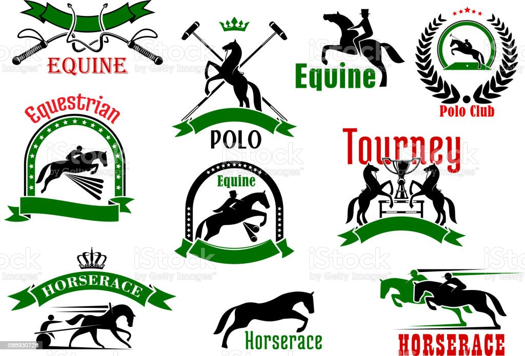 Horses with riders icons for equestrian design vector art illustration