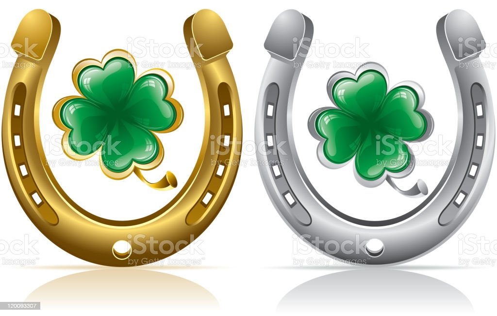 horseshoe and clover royalty-free stock vector art