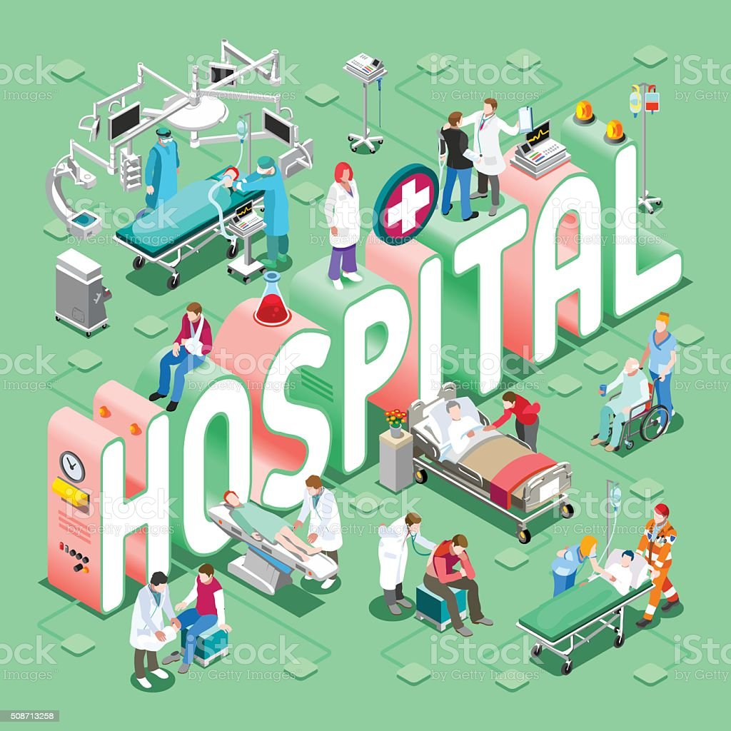 Hospital 01 Concept Isometric vector art illustration