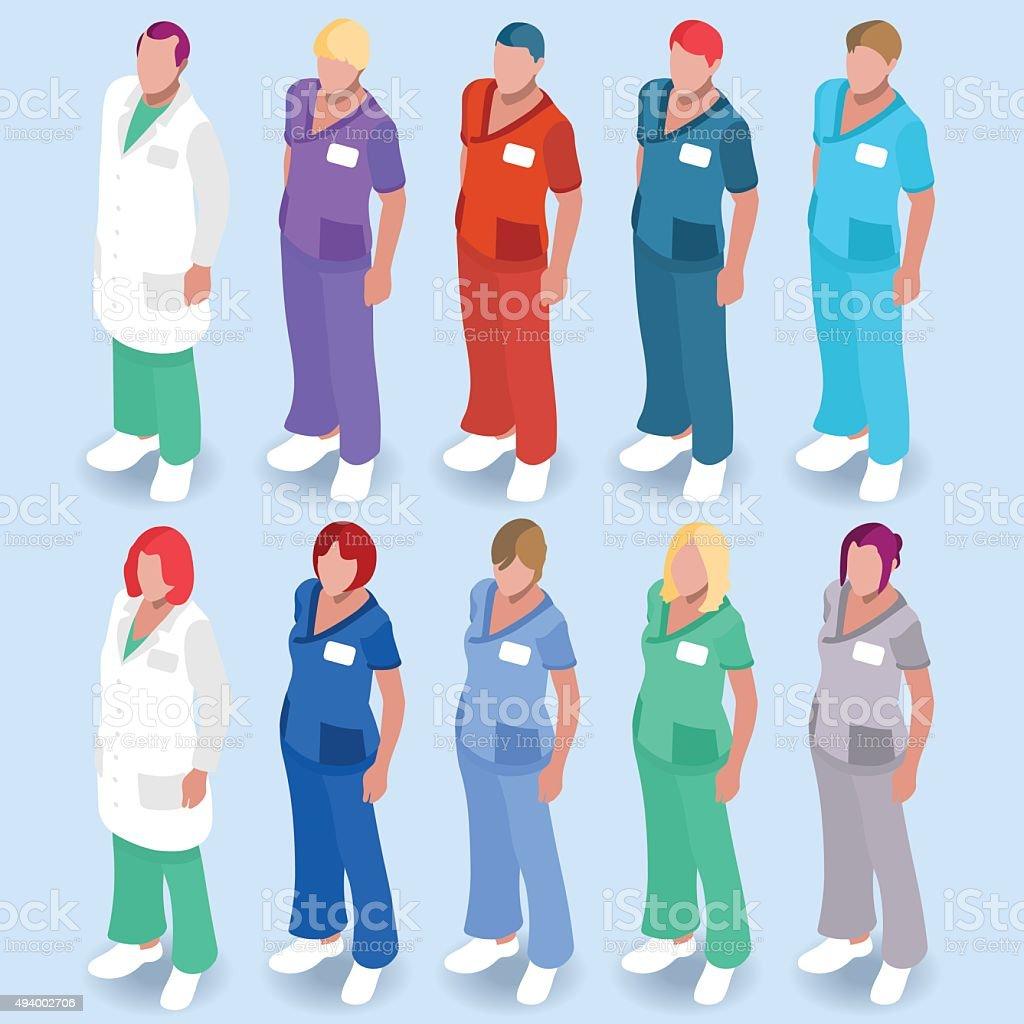 Hospital 14 People Isometric vector art illustration