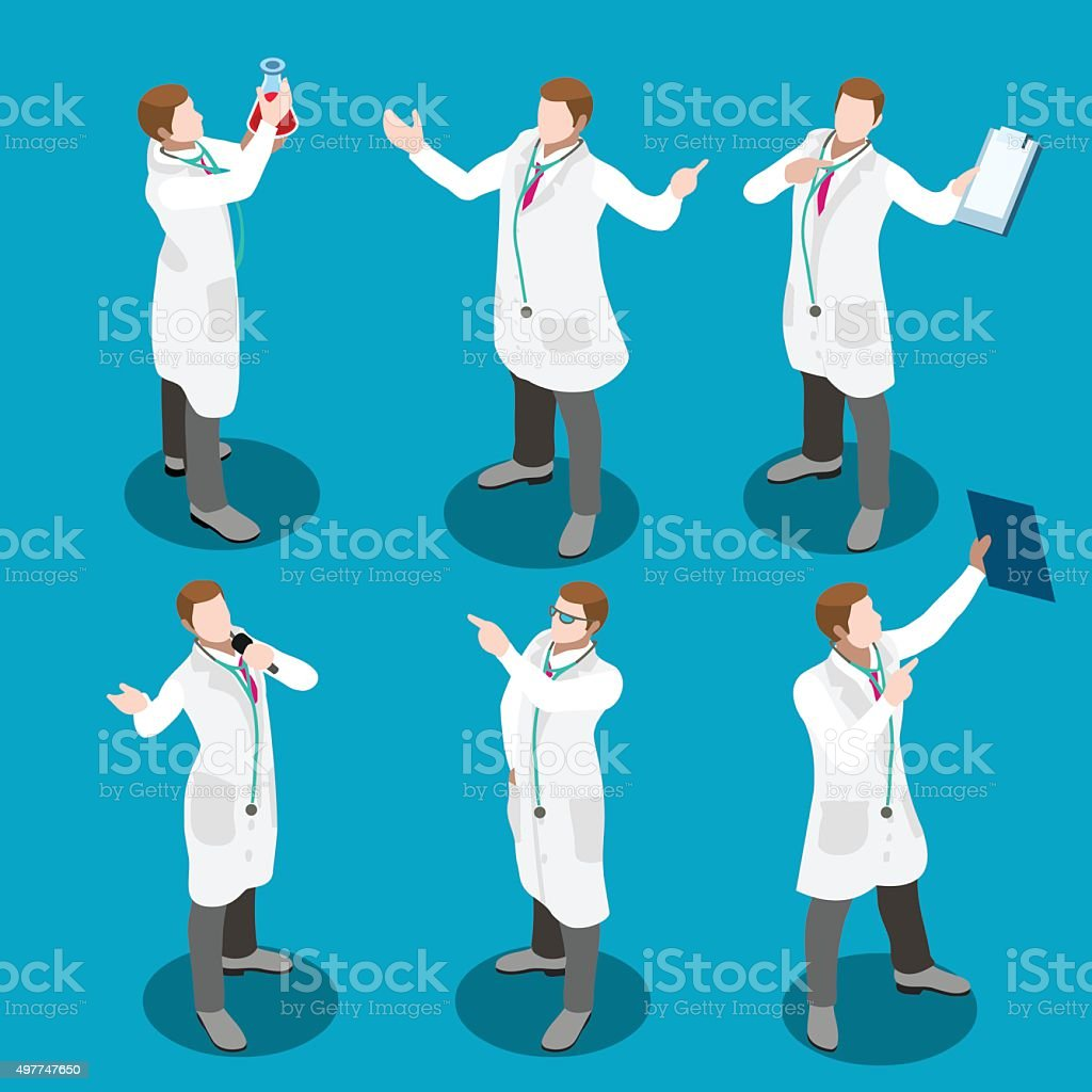 Hospital 17 People Isometric vector art illustration