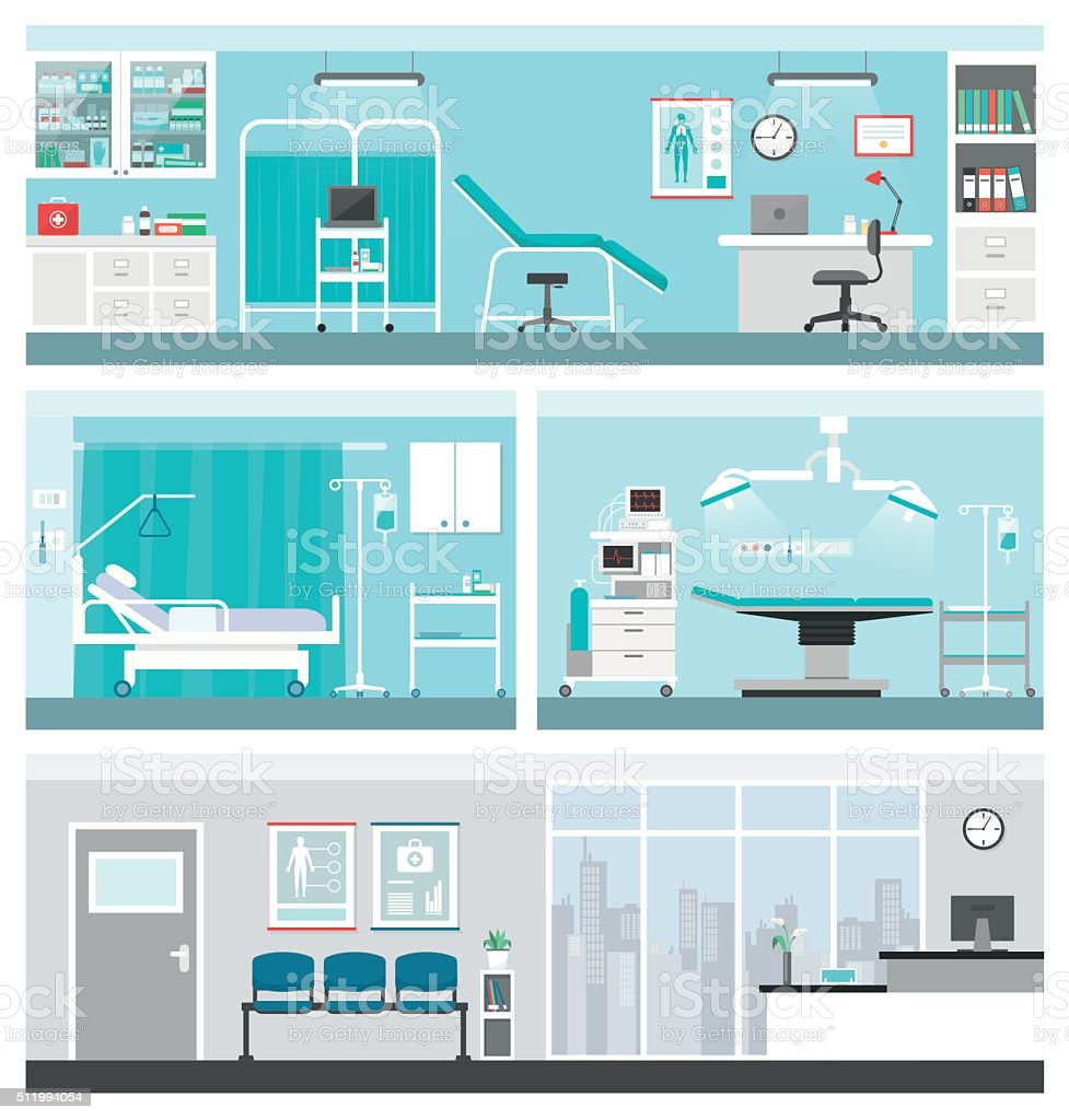 Hospital and healthcare vector art illustration