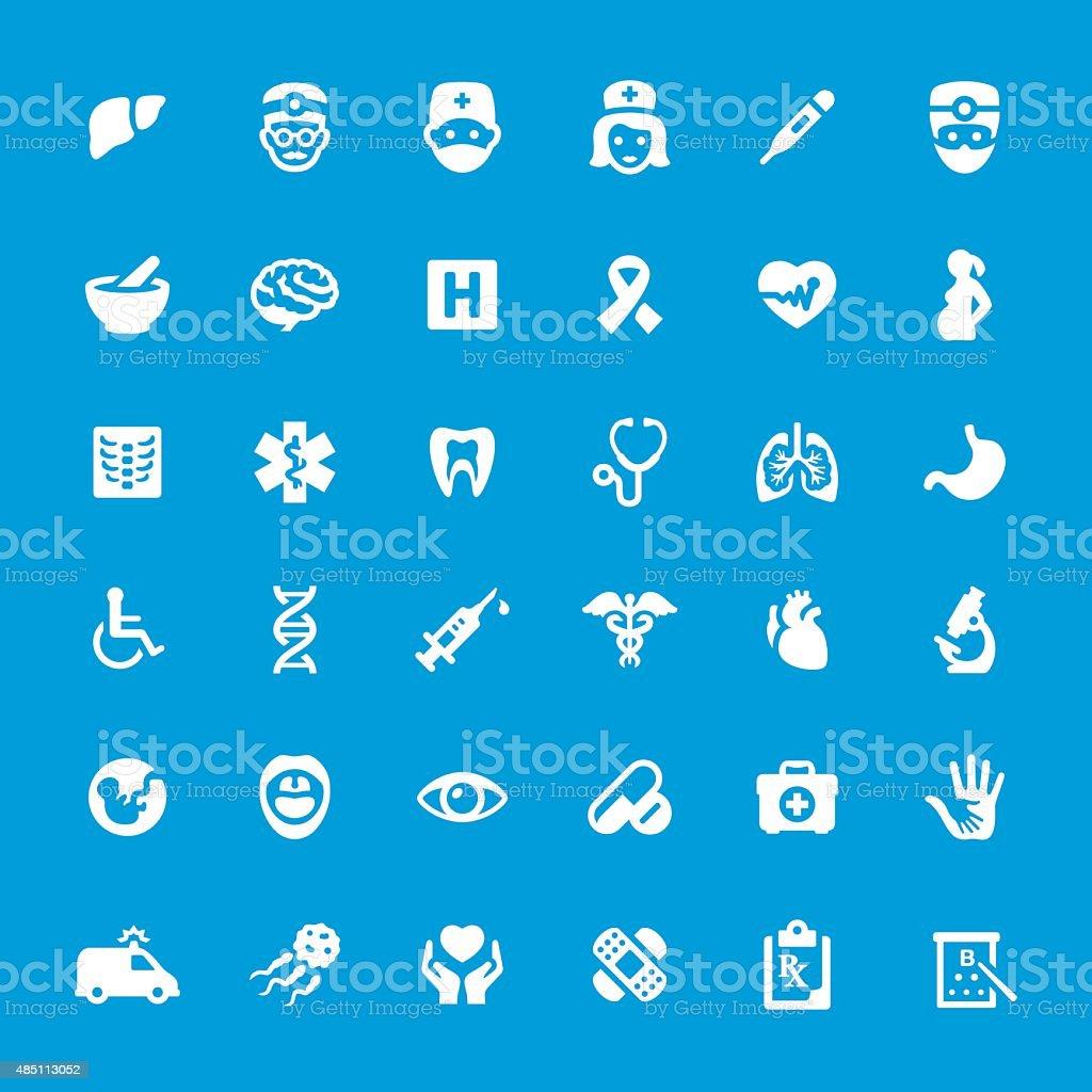 Hospital And Medicine vector icons set vector art illustration