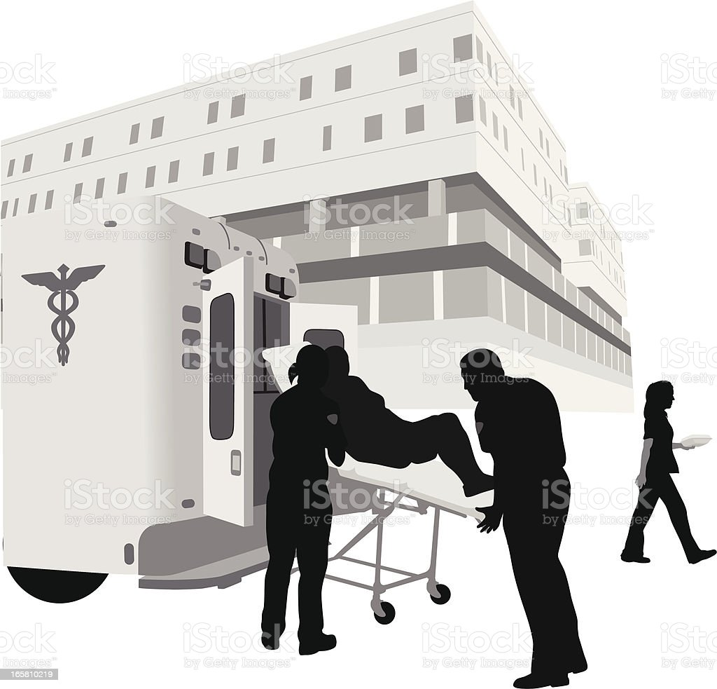 Hospital Arrival Vector Silhouette royalty-free stock vector art