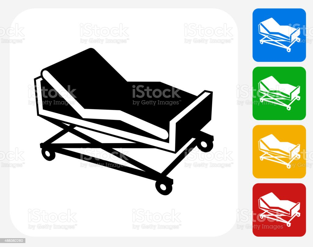 Hospital Bed Icon Flat Graphic Design vector art illustration