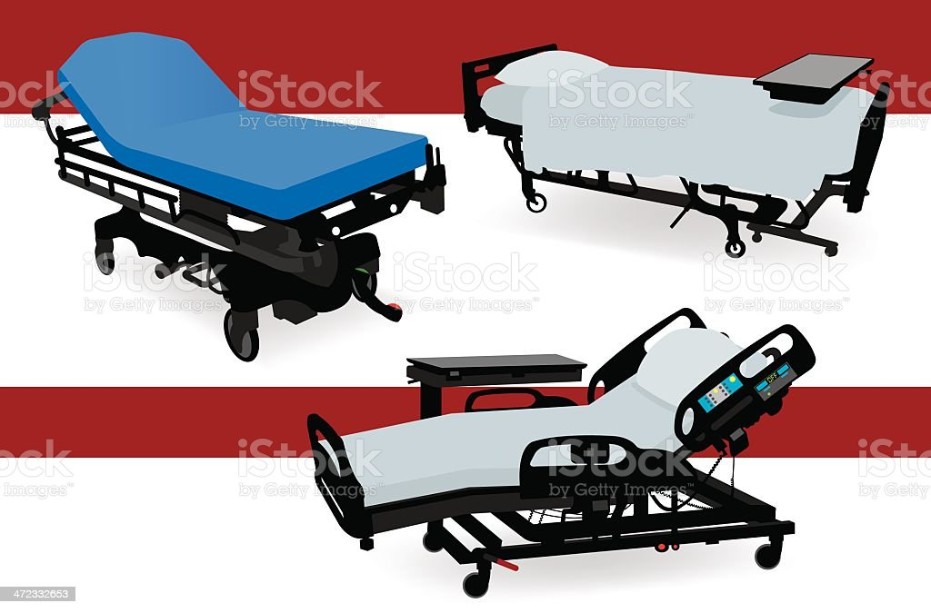 Hospital Beds and Gurney royalty-free stock vector art