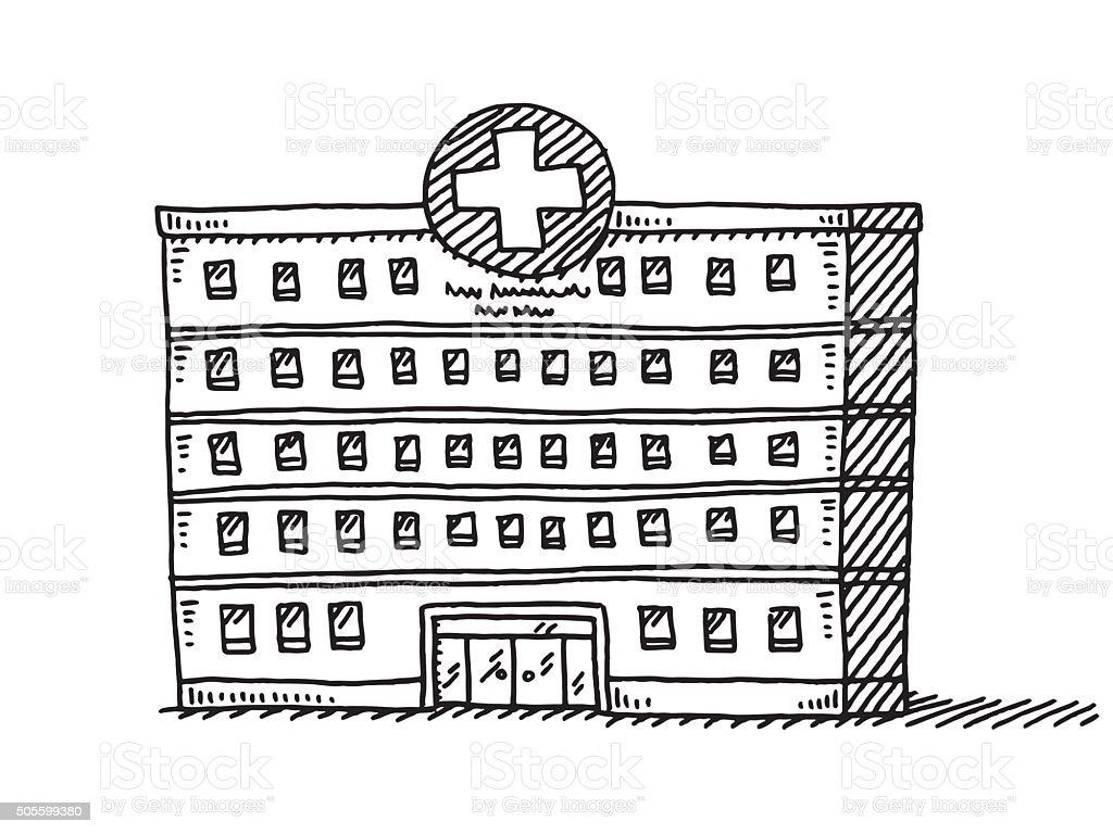 Hospital Building Drawing vector art illustration