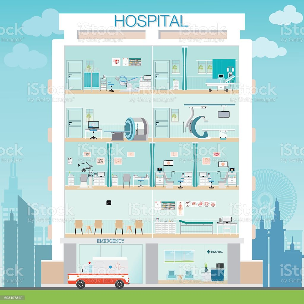 Hospital building exterior with doctor and patient vector art illustration