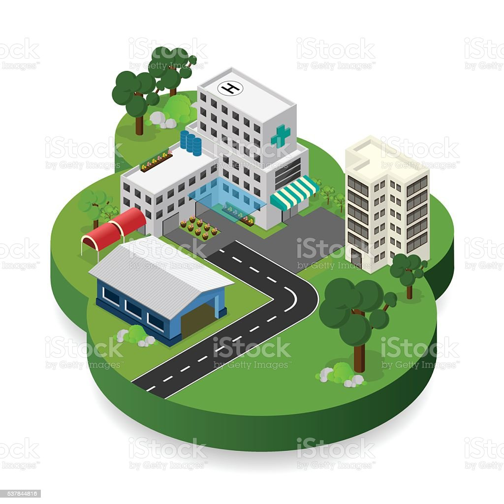 hospital building isometric isolated vector art illustration