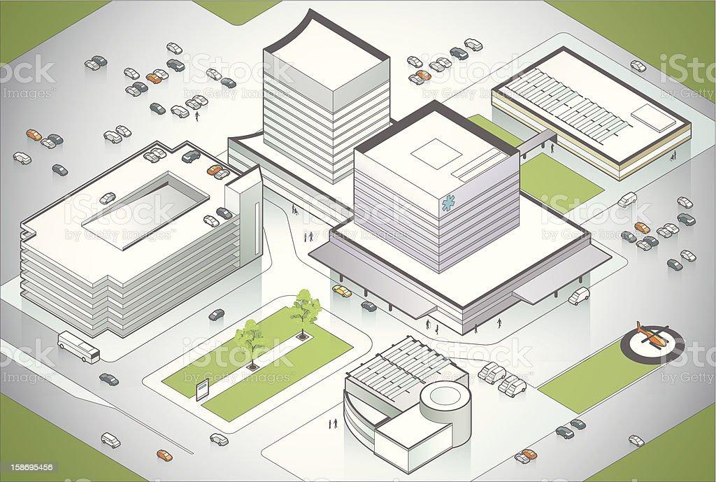 Hospital Campus Illustration royalty-free stock vector art