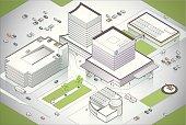 Hospital Campus Illustration