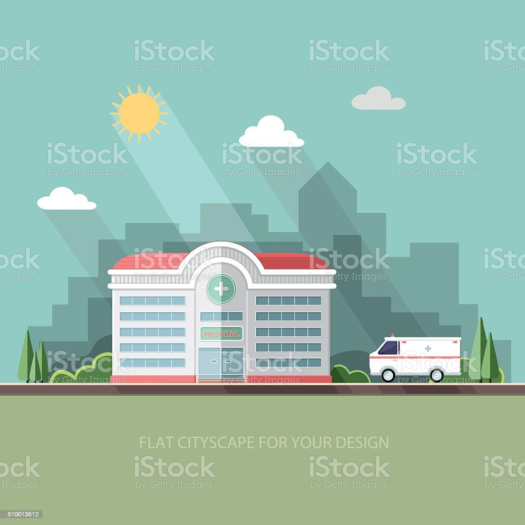 Hospital. Clinic building with ambulance car. Flat vector illustration. vector art illustration