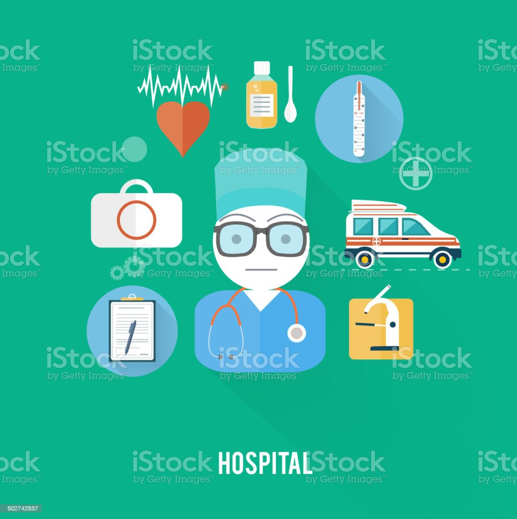 Hospital concept with item icons vector art illustration