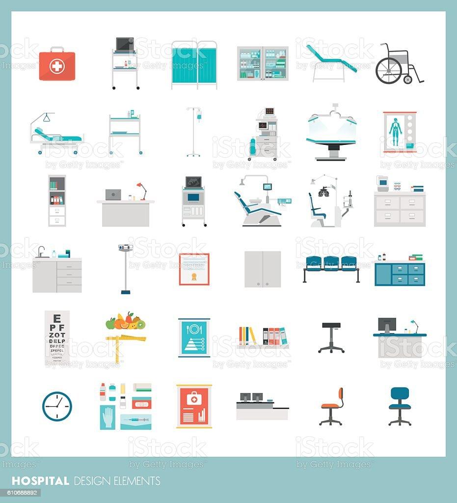 Hospital design elements vector art illustration