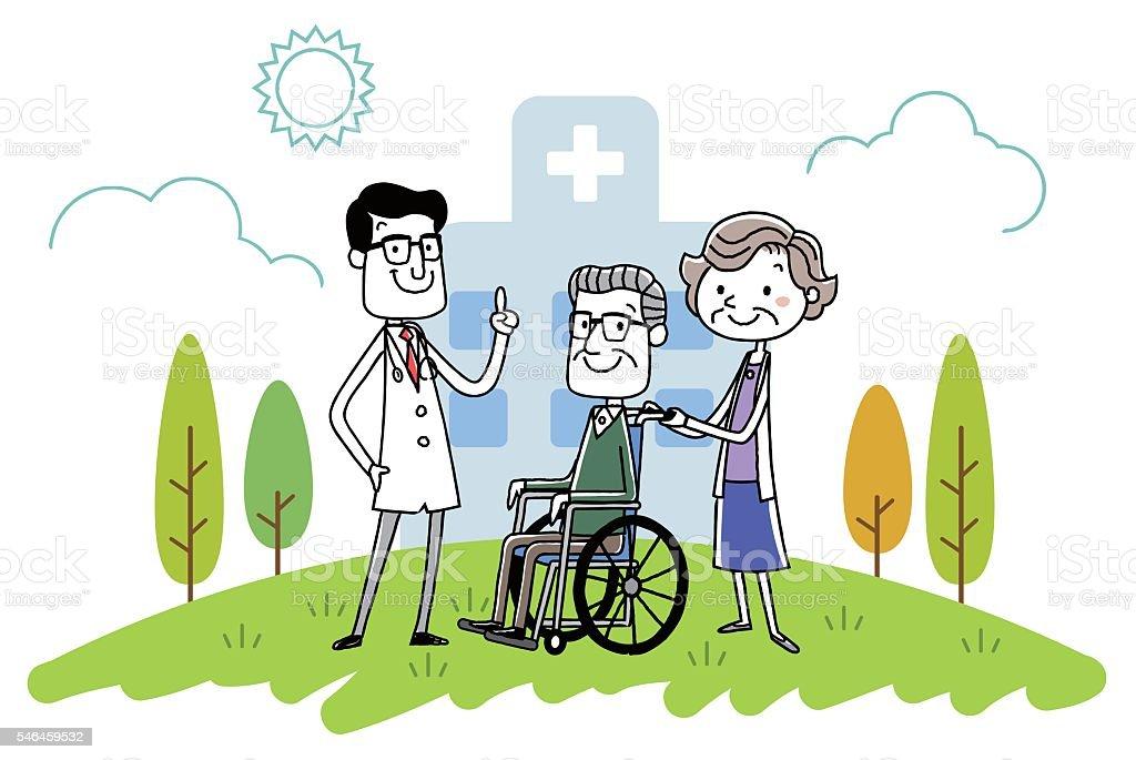 Hospital doctors and senior couple vector art illustration