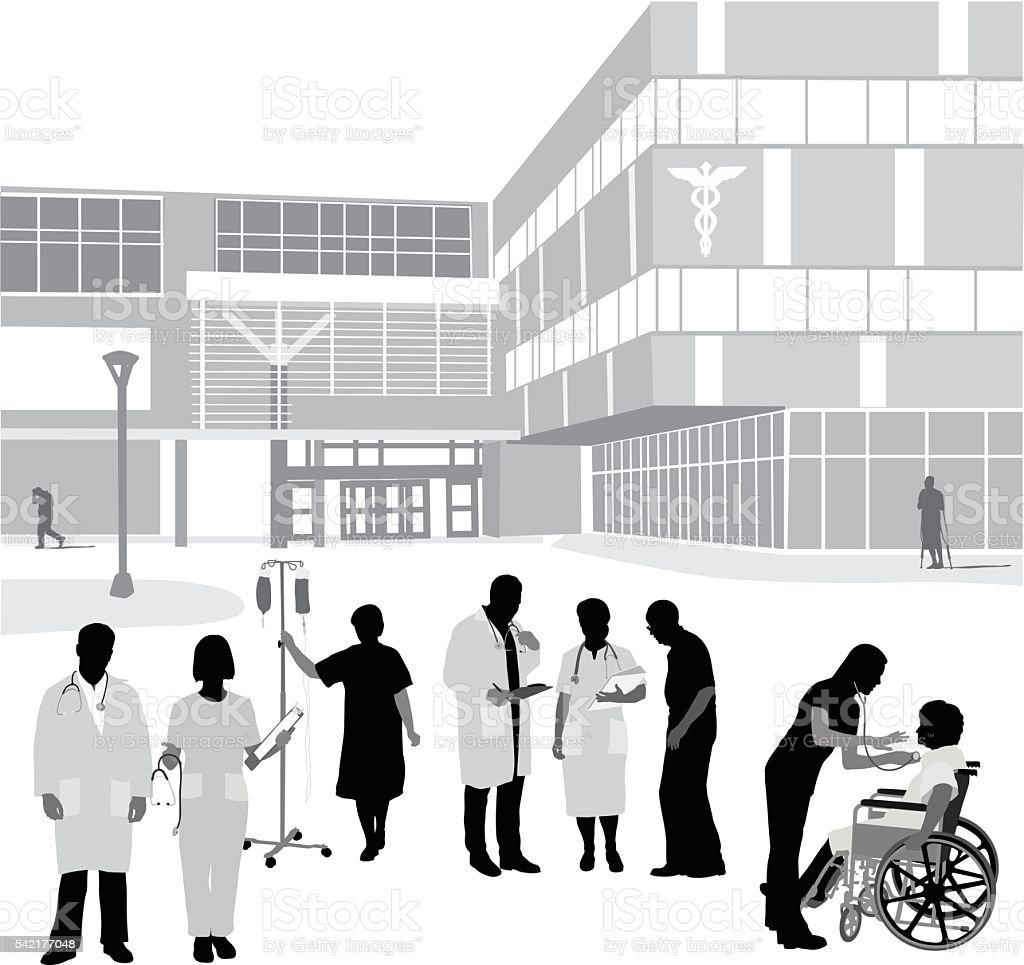 Hospital Entrance And Occupants vector art illustration
