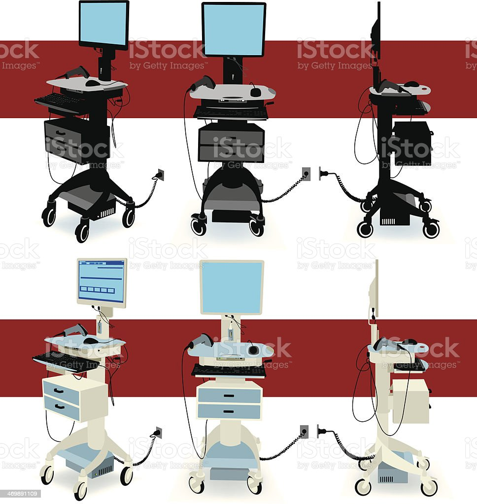 Hospital Equipment - Mobile Nursing Station royalty-free stock vector art