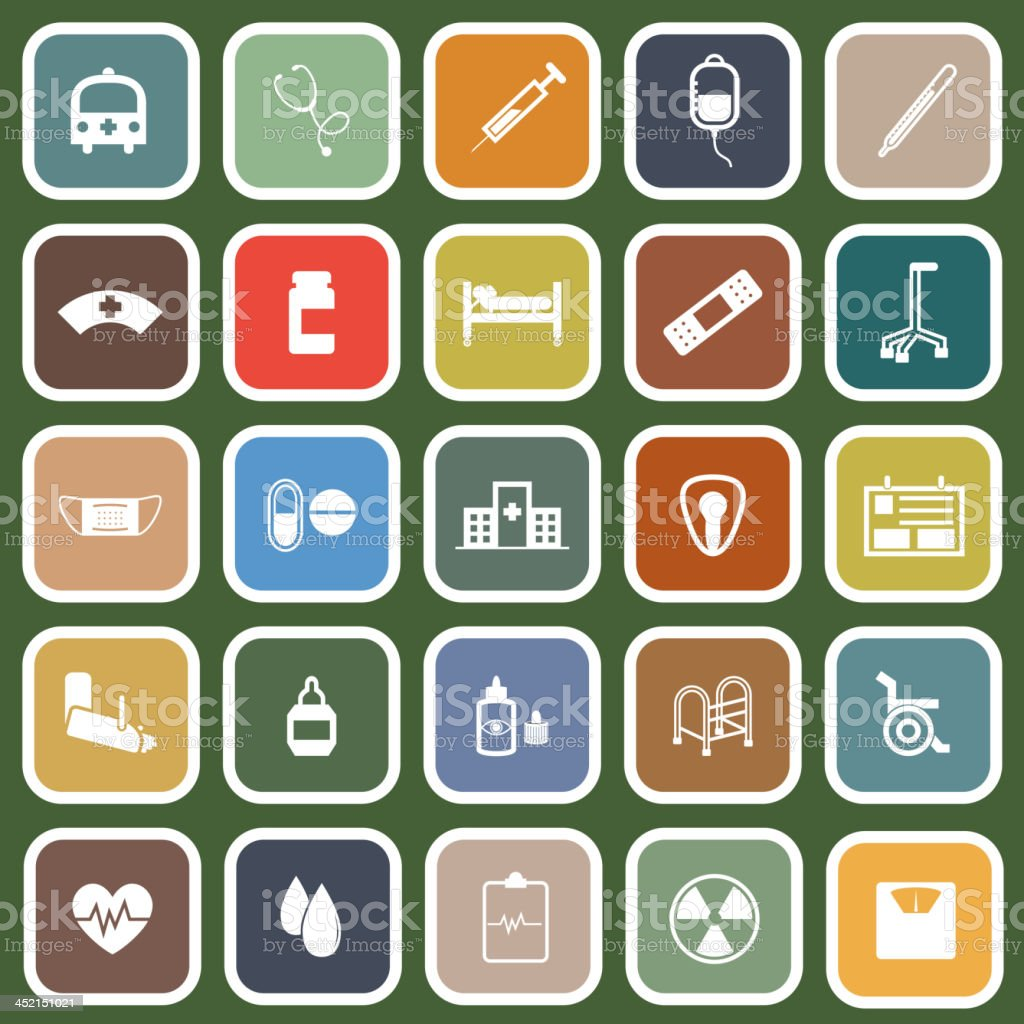 Hospital flat icons on green background royalty-free stock vector art