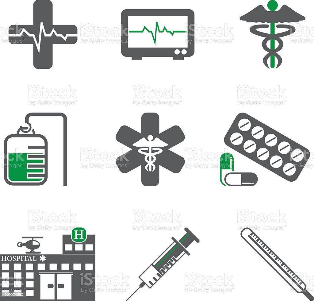 Hospital / Healthcare Icon Set vector art illustration