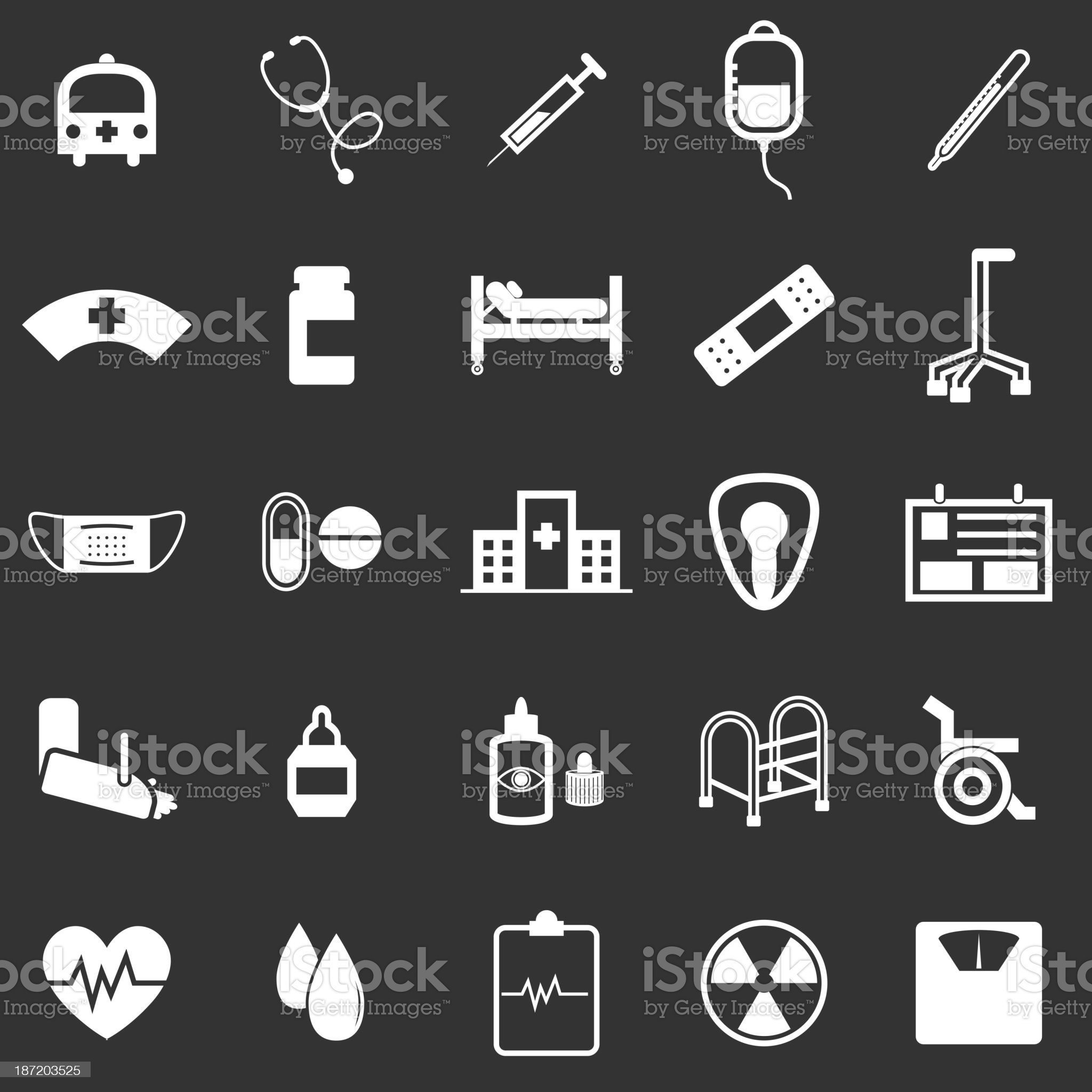 Hospital icons on black background royalty-free stock vector art
