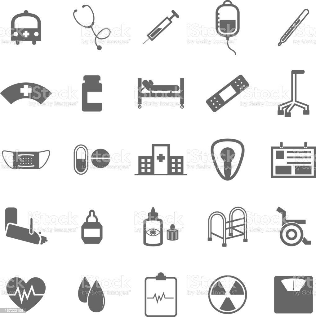 Hospital icons on white background vector art illustration