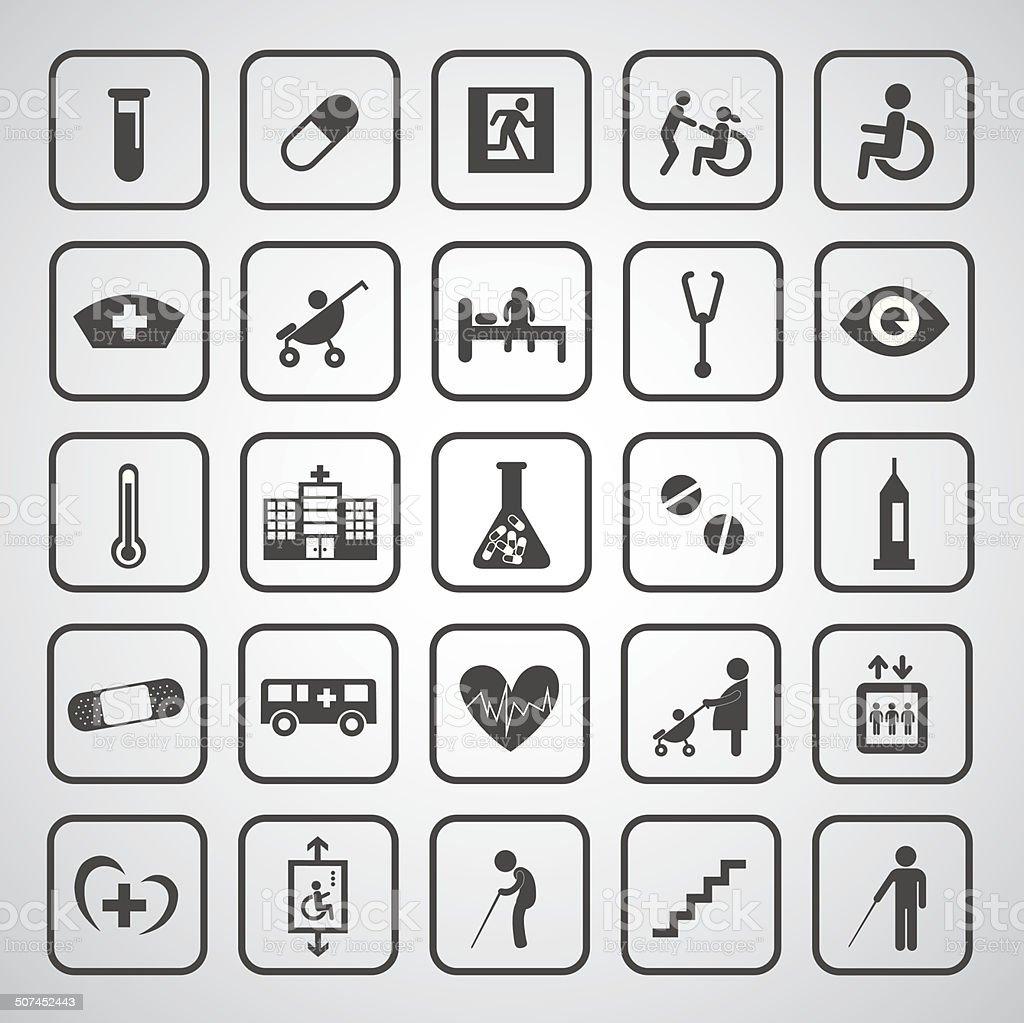 hospital icons set vector art illustration
