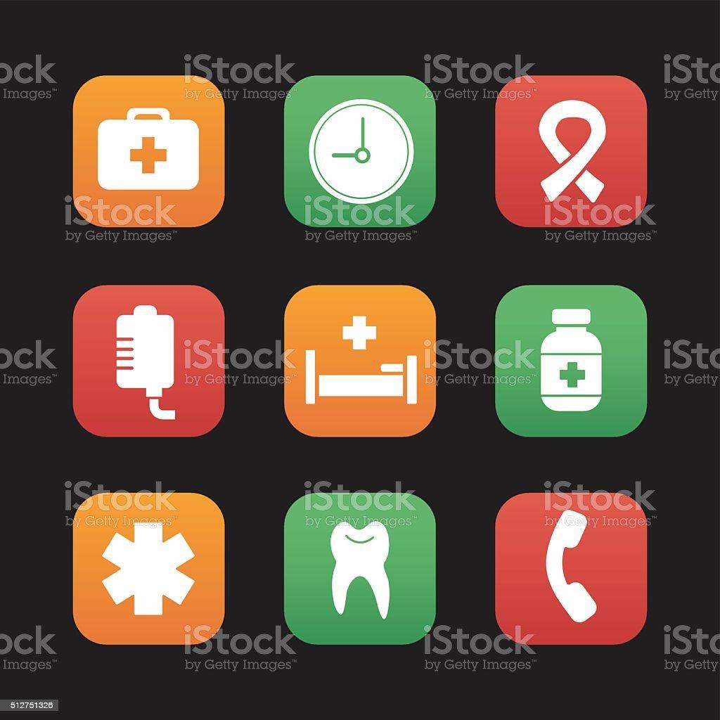 Hospital icons vector art illustration