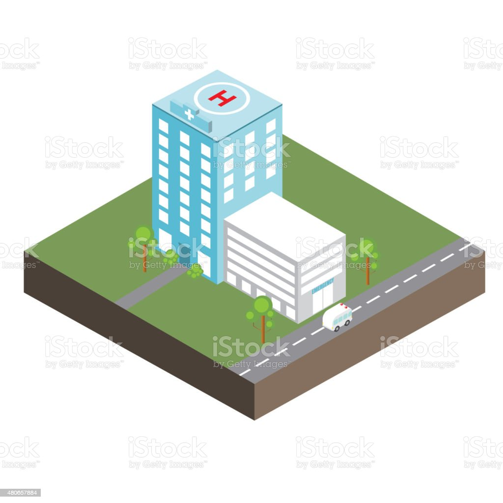 Hospital isometric vector art illustration