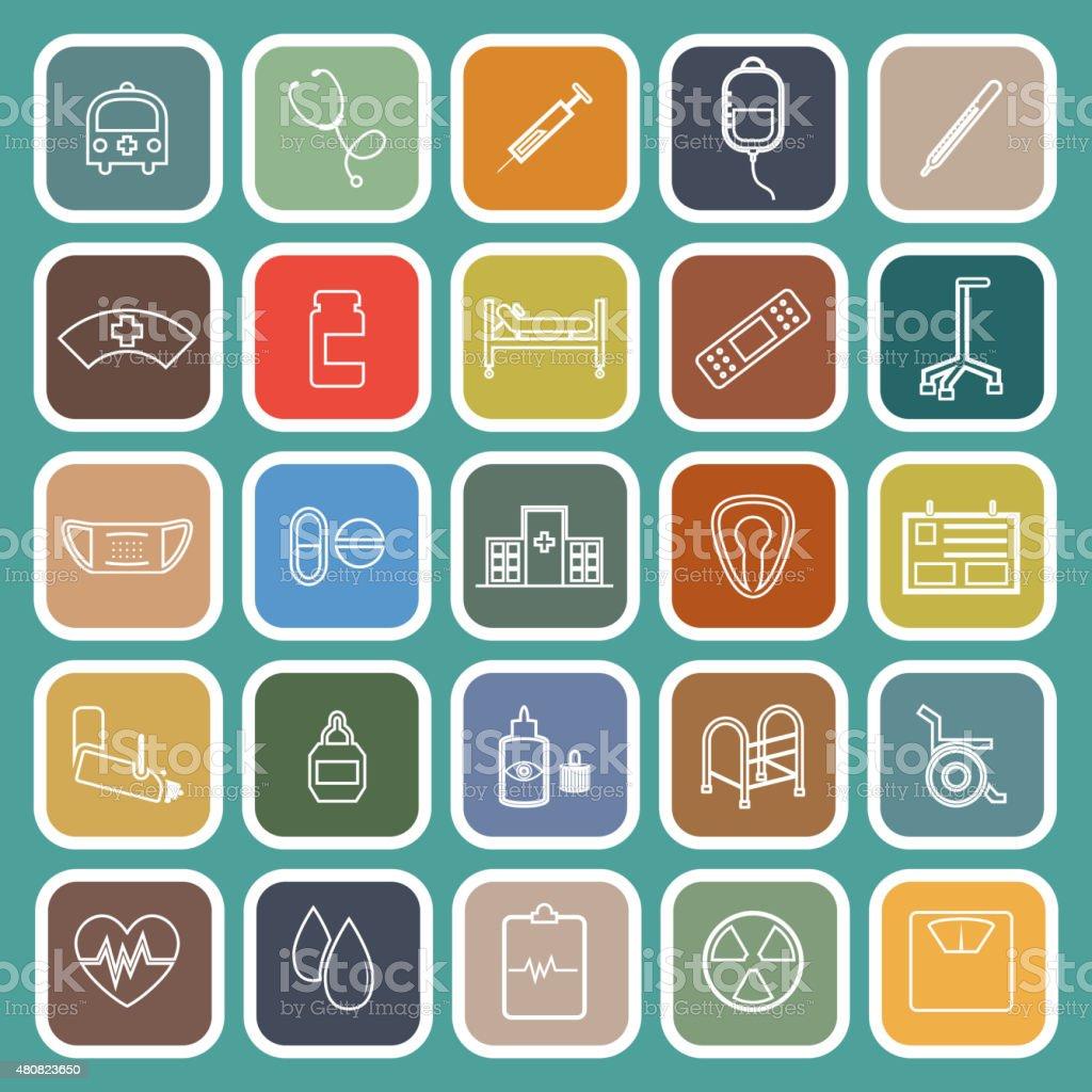 Hospital line flat icons on green background vector art illustration