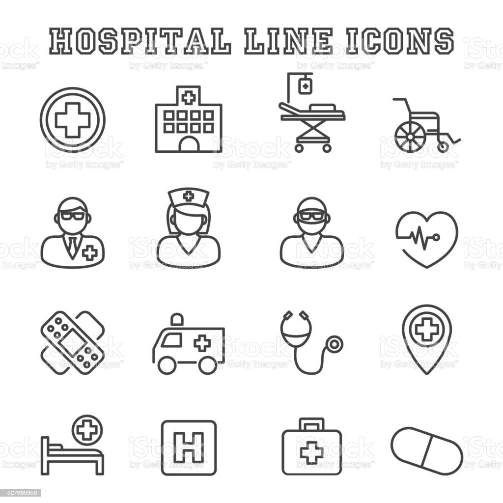 hospital line icons vector art illustration
