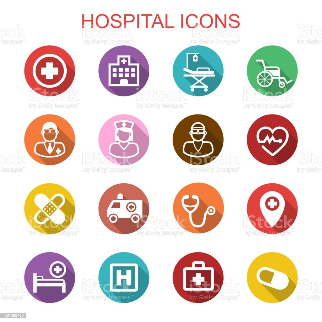 hospital long shadow icons vector art illustration