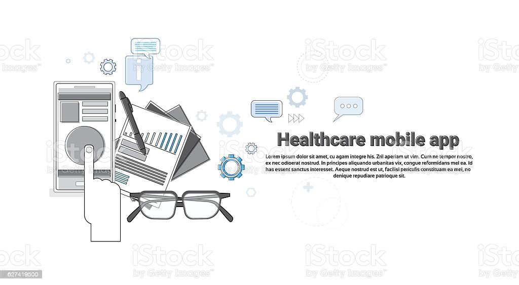 Hospital Medical Application Health Care Medicine Online Web Banner Thin vector art illustration
