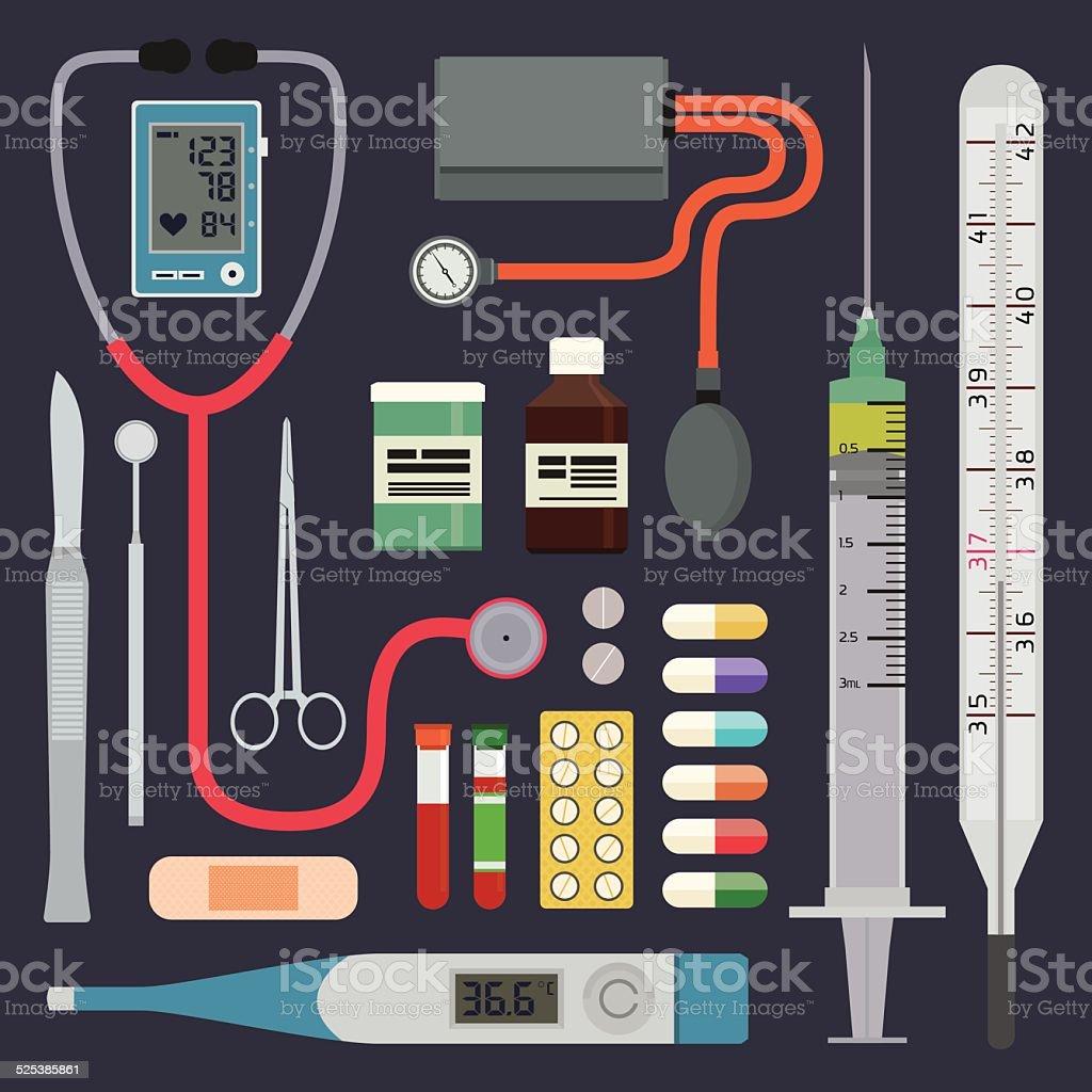 Hospital - Medical Instruments vector art illustration