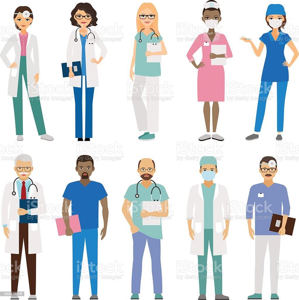 Hospital medical staff vector art illustration