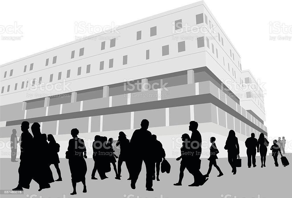 Hospital Outside Crowd vector art illustration