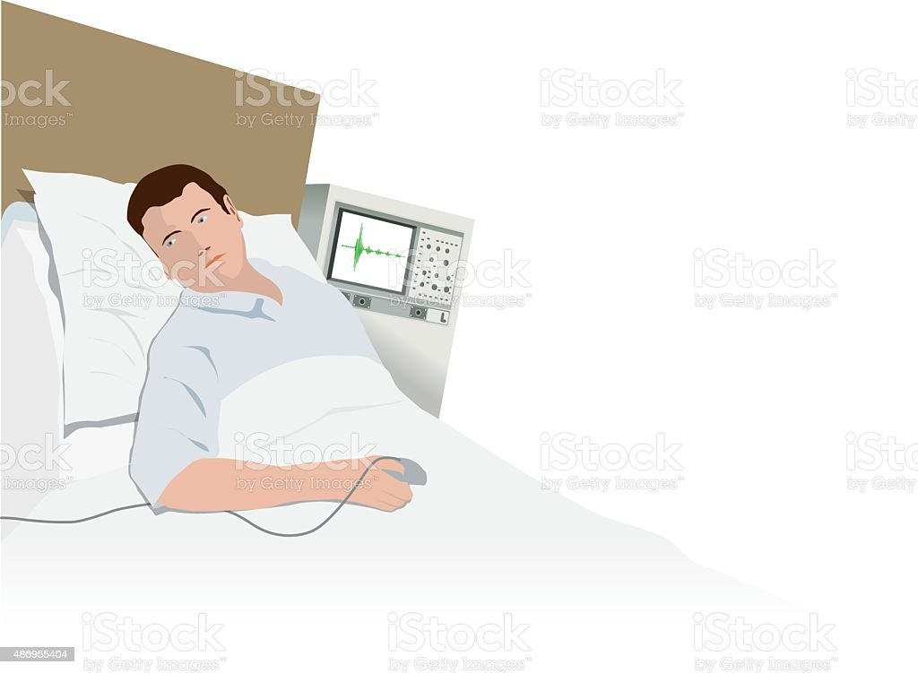 Hospital patient being monitored vector art illustration
