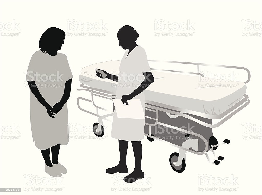 Hospital Patient Vector Silhouette royalty-free stock vector art